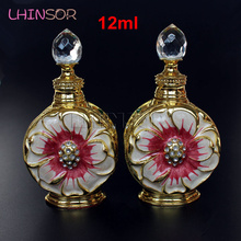 12ml Vintage Metal Perfume Bottle Glass Doterra Essential Oil Dropper Bottles Arab Style Containers Wedding Decoration Gift все цены