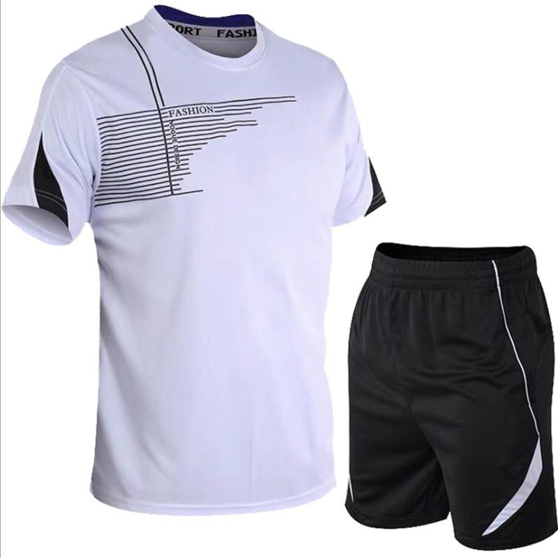 men's set  sportswear kit short sleeve sports sport shirt men running 2pcs suit for soccer gym fitness men t-shirts+shorts sets 5