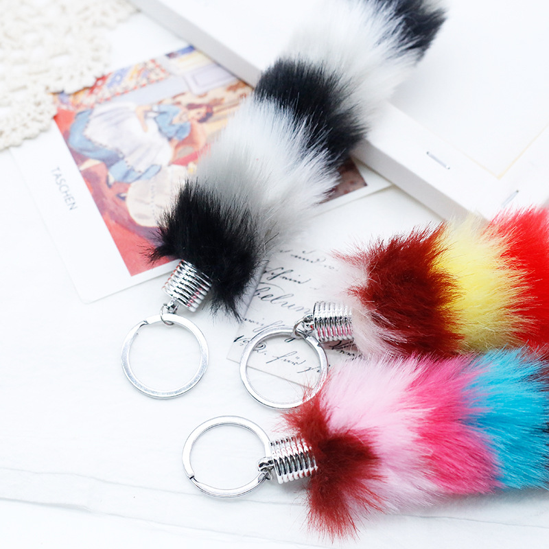 Bag Keychain Wholesale Tail-Pendant New Cute Fur-Ball Car-Plush-Ornaments Faux-Rabbit-Fur