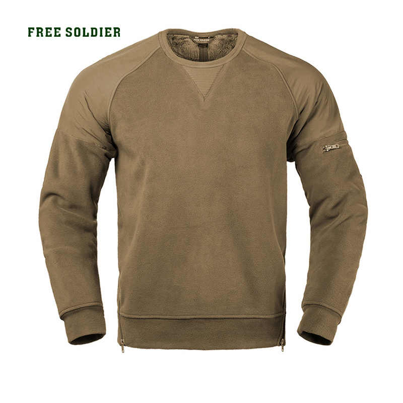 FREE SOLDIER Fleece men's autumn and winter outdoor thickening fleece collar coat round collar warm  bottoming shirt