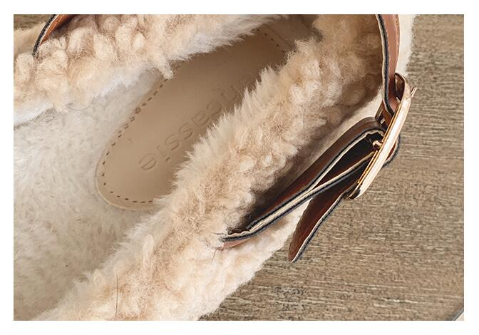SLHJC Round Toe Loafers Flat Heel Slip On Women Autumn Flats Shoes Curly Fur Warm Female Drive Shoes 31