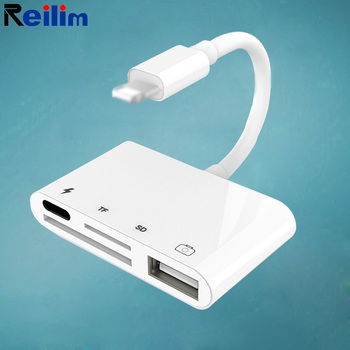 Reilim OTG USB Camera adapter for lightning to micro SD TF card reader kit for iphone 11 12 8 ipad for apple ios 14 13 converter