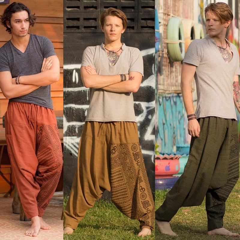 Zogaa 2020  Bohemian Men Hip Hop Cross-pants Retro Baggy Cotton Loose Cross-pants Male Wide Legs Trousers Casual Pants Men 5XL