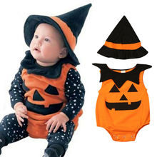 Halloween Newborn Clothes Set Sleeveless Pumpkin Baby Boys Rompers Set Orange Black Patchwork Girls Bodysuits Hat Baby Girls Set цена