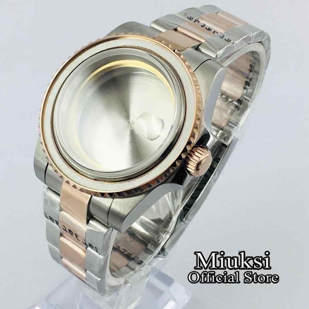 Miuksi 40mm ספיר זכוכית רוז זהב מוצק נירוסטה שעון מקרה עבור ETA 2836, DG2813/3804 Miyota 82 סדרת תנועה