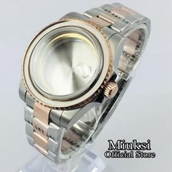 Miuksi 40mm szafirowe szkło różowe złoto zegarek case dla NH35 NH36 ETA 2836 Mingzhu DG2813 3804 Miyota 8205 8215 821A ruch