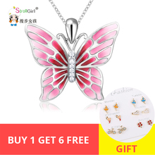 StrollGirl 925 Sterling Silver Chain Pendant Necklace Fashion Jewelry Pink Butterfly Necklaces & Pendants For Women Friends 2018 недорого