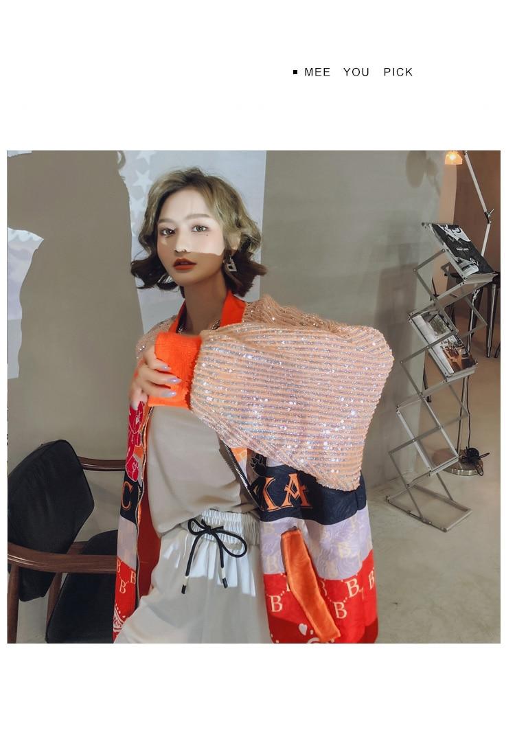 Hf984745e5c75451bb50c87cdeda38485K 2021 Spring Women Long Sequins Print Patchwork Loose Coat