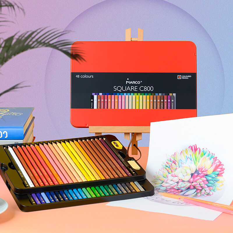 Marco Trendy Oil Colors Pencils SQUARE BODY 24/48 Andstal Color Pencil Lapis De Cor Professional Colored Pencils For School