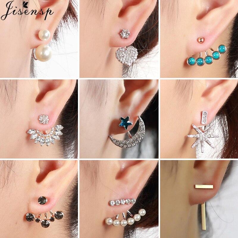 Bohemian Geometric Bar Crystal Earrings Women Ear Jackets Front Back Double Sided Stud Earrings Piercing Jewelry Gift bijoux