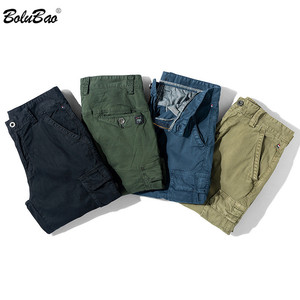BOLUBAO Summer Men Cargo Shorts Quality Brand Men's Solid Color Casual Shorts Male Multi-Pocket Knee Length Shorts (No Belt)