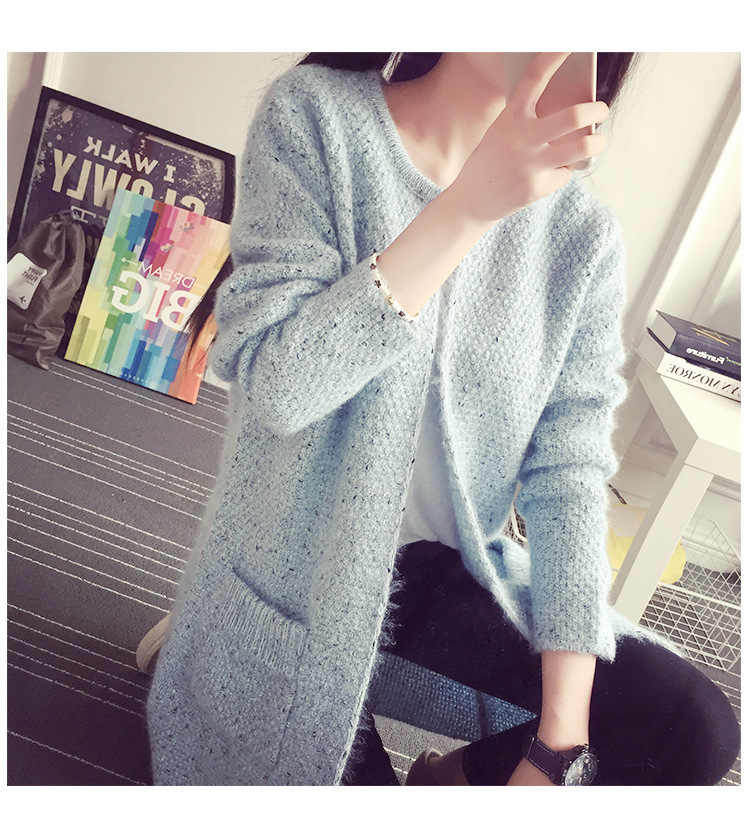 Pullover Frauen Mohair Strickjacke Mantel Neue Herbst Winter tasche Koreanische Weibliche sweter Lose Kleidung Vestidos LXJ319
