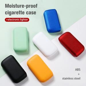 Image 4 - עור מפוצל קופסא סיגריות תיבת עם נייד Usb טעינת מצית 10pcs סיגריות אחסון מחזיק מיכל טורבו חשמלי מצית