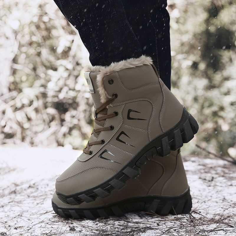 Leather Sport Winter Boots Fleece Lined Thickened Waterproof Non-slip Men Women Shoes Booties K-BEST image