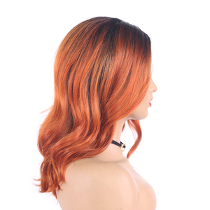 Image 3 - Ombre Ginger Colored Natural Wave Synthetic Lace Wigs Gray Brown Orange X TRESS Shoulder Length Bob Hair Wigs For Black Women