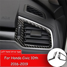 цена на 2pcs Car styling Carbon Fiber Sticker for Honda Civic 10th 2016-2019 Car side Air Vent Outlet Decor Cover Trim Cover Sticker