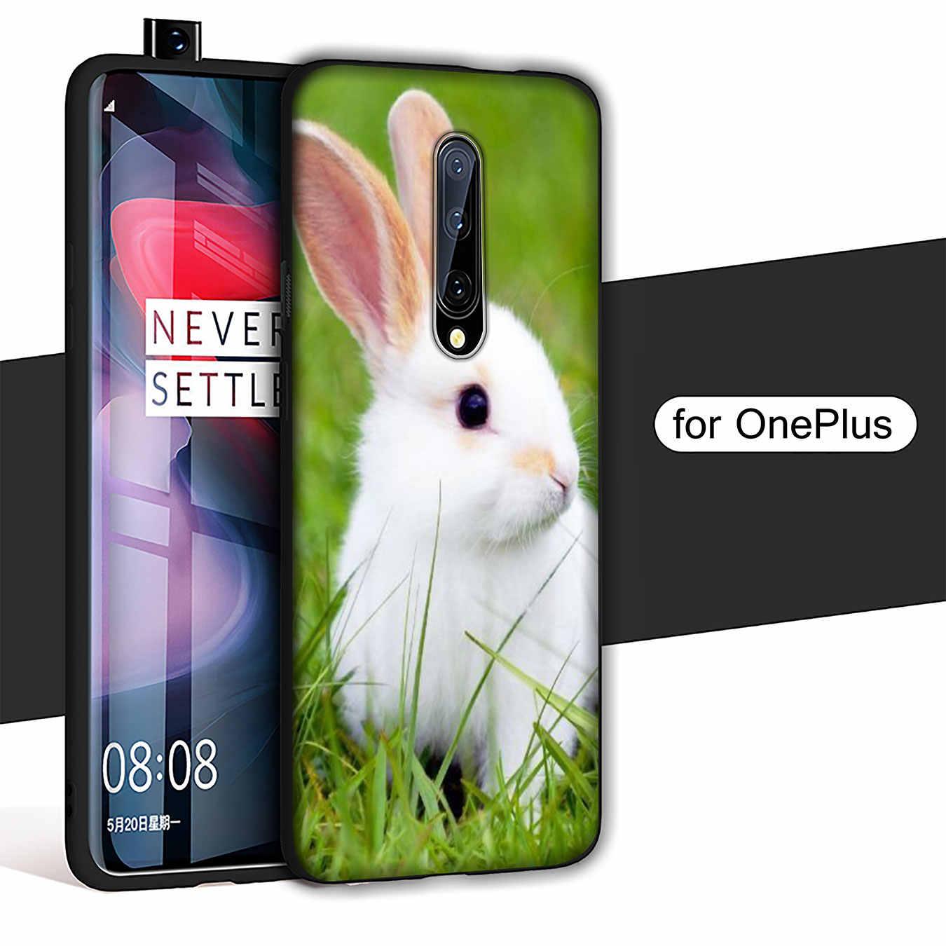 Sevimli beyaz bebek tavşan yumuşak TPU siyah silikon telefon kılıfı OnePlus 7T 7 Pro 6 6T 5 5T bir artı 7Pro kapak
