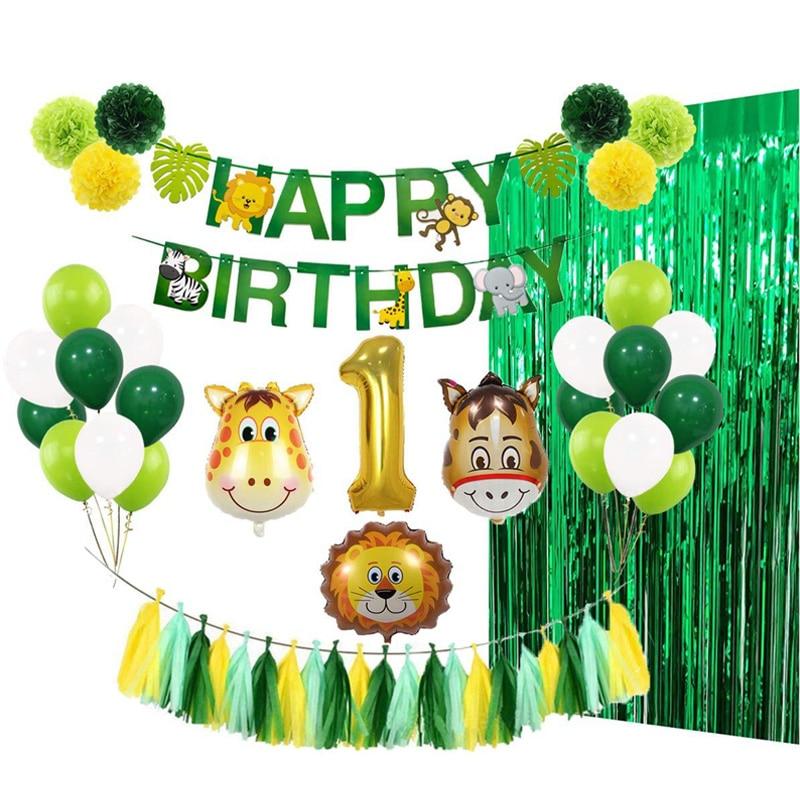 Baby 1st Happy Birthday Balloons Set Party Decoration Animal Ballons Wild Jungle Theme Children Green Foil Tinsel Curtain Decor