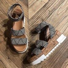 Women Platform Sandals Women Peep Toe High Wedges Heel Ankle Buckles Sandalia Es