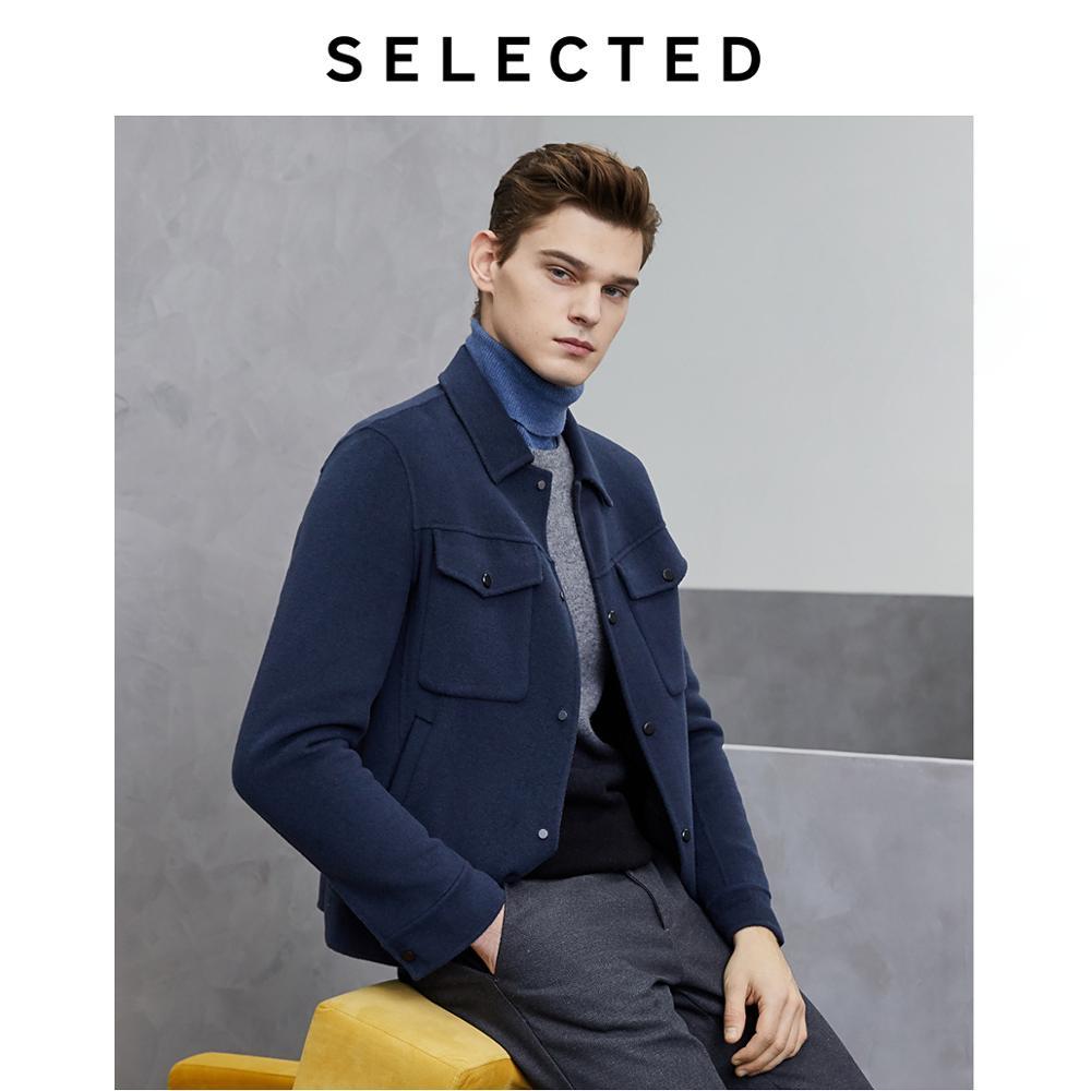 SELECTED Men's Woolen Pure Color Overcoat Male Winter Wool Coat S|419427527