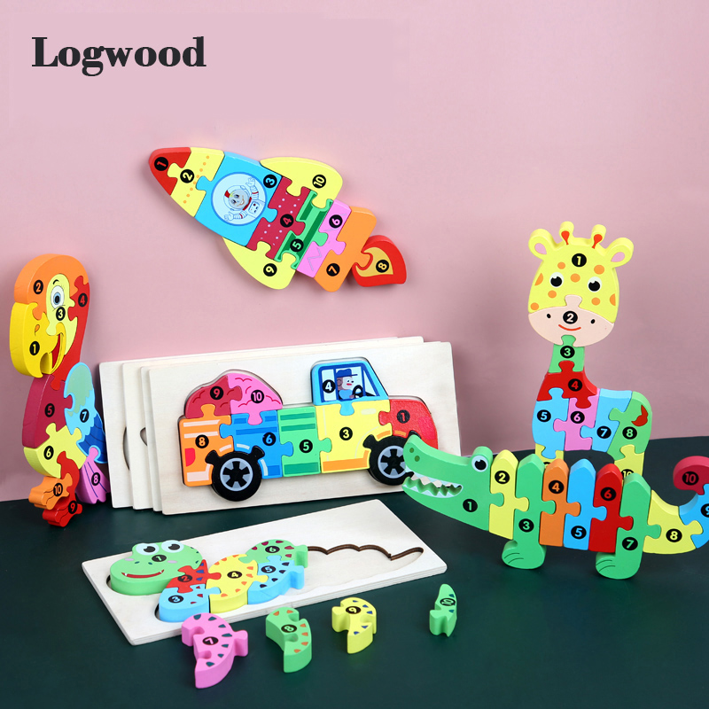 Baby Wooden Toy 3D Puzzle Jigsaw Animal Baby Puzzle Learning Educatioanl Montessori Toys For Children Gifts