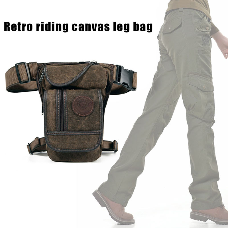 Newly  Men Canvas Thigh Drop Leg Bag Motorcycle Rider Waist Fanny Pack For Travel Hiking Climbing Cycling J9
