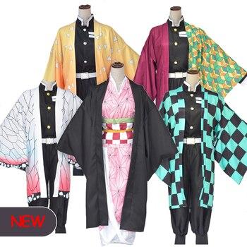 Anime traje cazadora de Cosplay Tanjirou Kamado Cosplay traje Kimetsu no Yaiba hombres traje de Kimono de Halloween