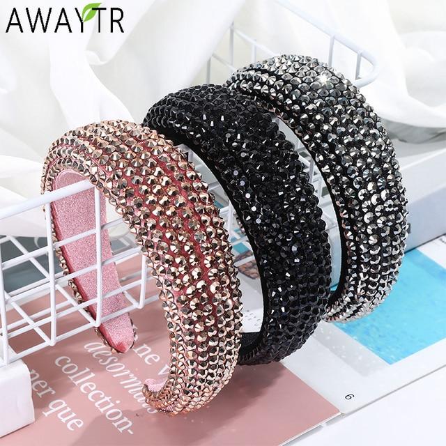 AWAYTR New Rhinestone Full Crystal Headbands for Women Wide Elastic Hairbands Baroque Diamond Tiara Hair Accessories Headdress 1