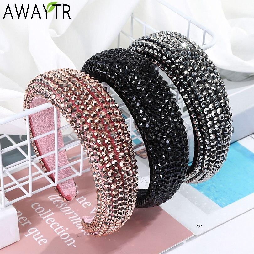 AWAYTR nowy Rhinestone całkowicie wyłożone kryształkami opaski dla kobiet szeroki elastyczny Hairbands barokowa diamentowa Tiara akcesoria do włosów stroik
