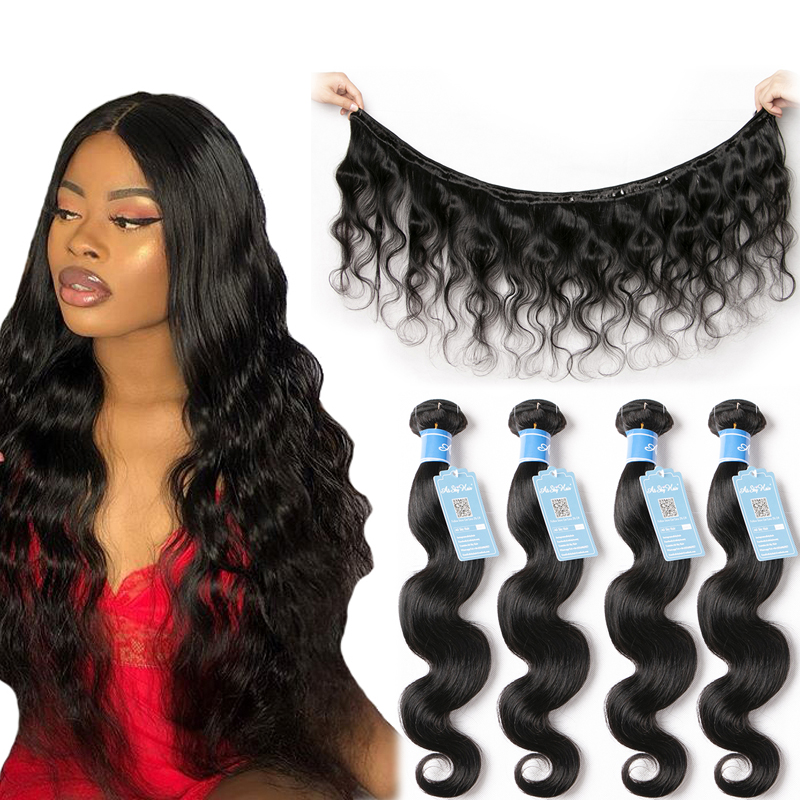 Alisky Hair Peruvian Body Wave Hair 100% Thick Human Hair Bundles 8-30inch Weaves 1/3/4 Bundles No Tangle Remy Hair Extensions