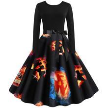 Fancy Pumpkin Printed Halloween Dress Long Sleeve 2019 Women Plus Size  Vintage 50s Housewife Evening Party 2XL 9.24
