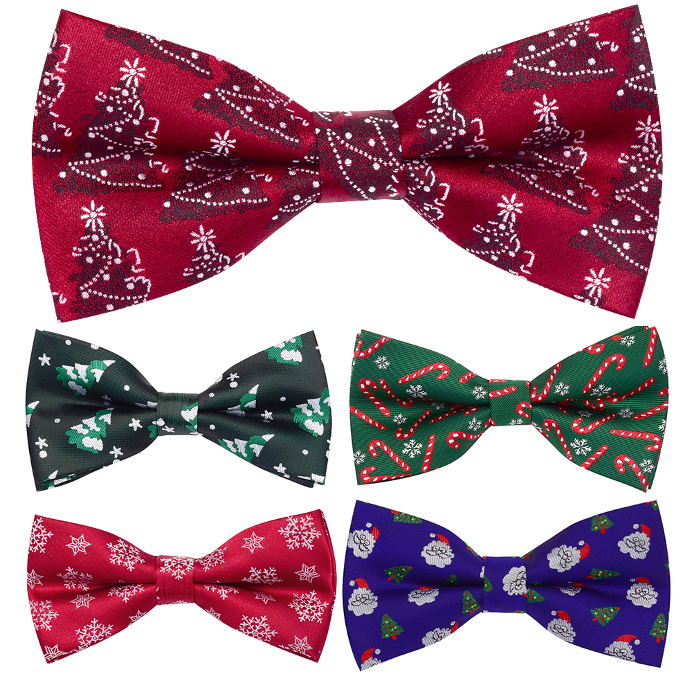 New Christmas Bow Ties Men's Novelty Pre-tied Bowtie Red Green Bow Tie For Man Festival Party Accessories