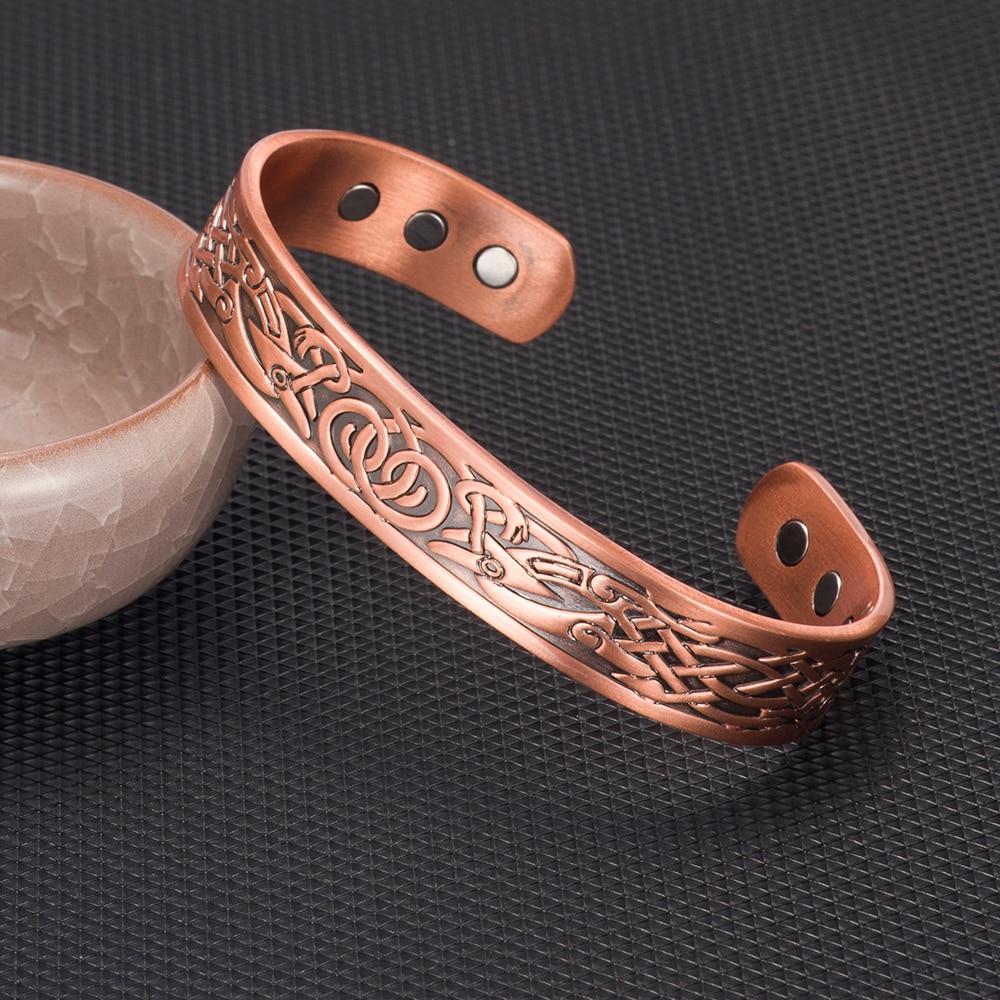 Viking Pure Copper Bracelet Men Energy Magnetic Adjustable Cuff Bracelet Femme Dragon Viking Wide Bracelets Bangles For Women