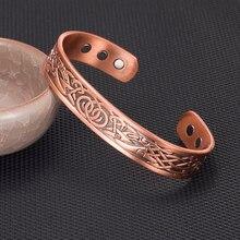 Bracelet Viking en cuivre pur pour hommes et femmes, manchette réglable magnétique, Dragon Viking, Bracelets larges pour femmes