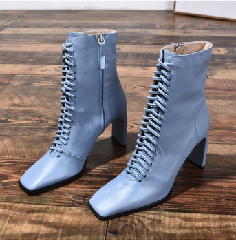 YEELOCA  Leather Boots Fashion High Heels Shoes Winter Lace Up Boots Square Toe Ankle Boots Female Shoes Heels KZ9932