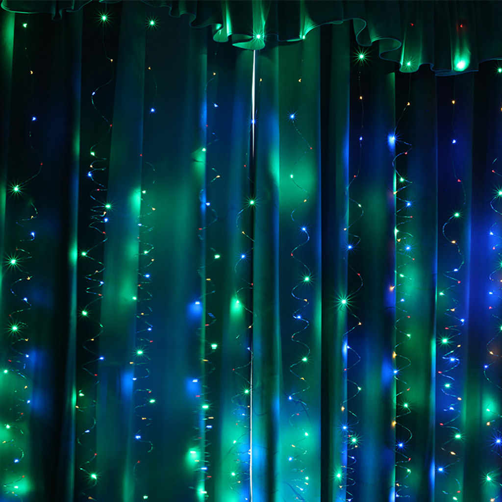 curtains for living room Home 300LED Party  Wedding decoration Curtain Lights USB String Light Home with Remote Control W926
