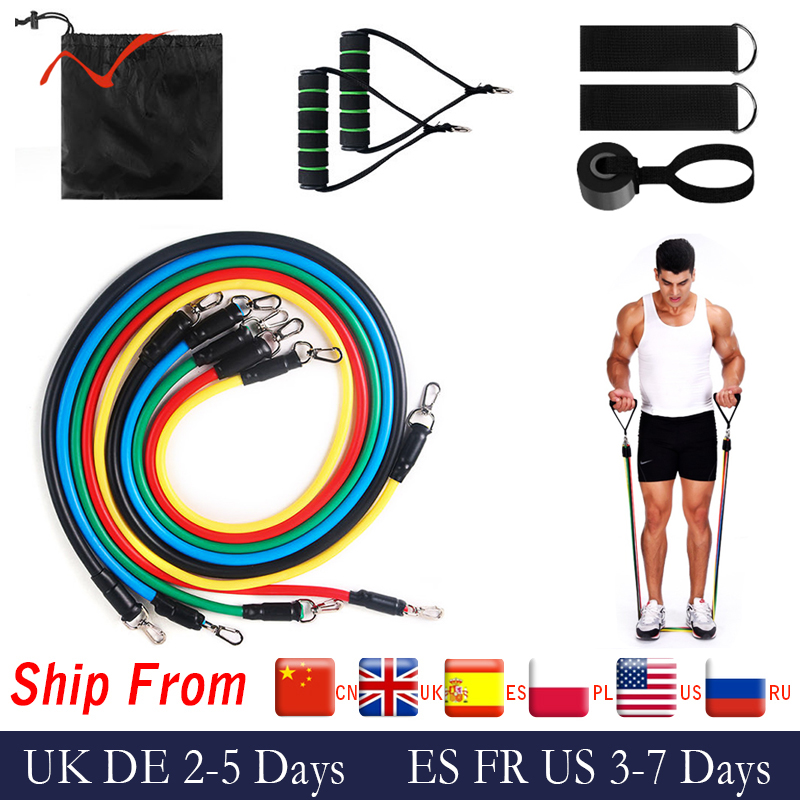 17Pcs Resistance Bands Set Expander Exercise Fitness Rubber Band Stretch Training Home Gyms Workout(China)