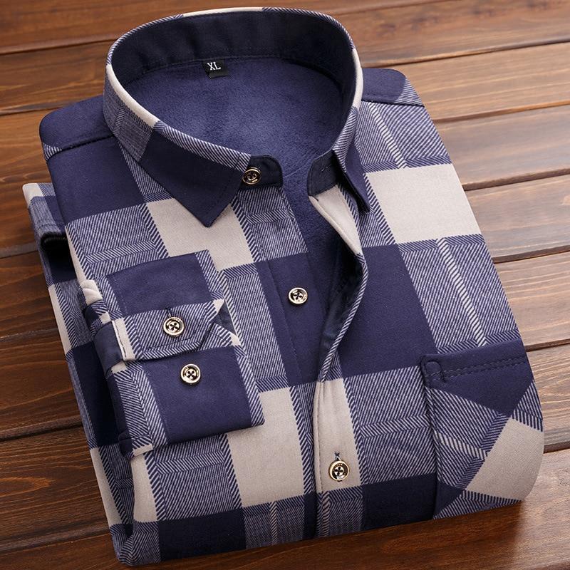Add Wool Warm Men's Casual Shirt Slim Fit Men's Casual Button Down Shirt Long Sleeve Formal Dress Shirts Men Male Clothing 4XL