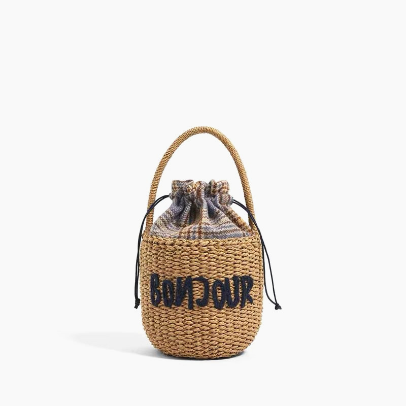 Round Bucket Handbags Women New Summer Fashion Beach Straw Bag Rattan Woven Shoulder Messenger Bag Lady Tote