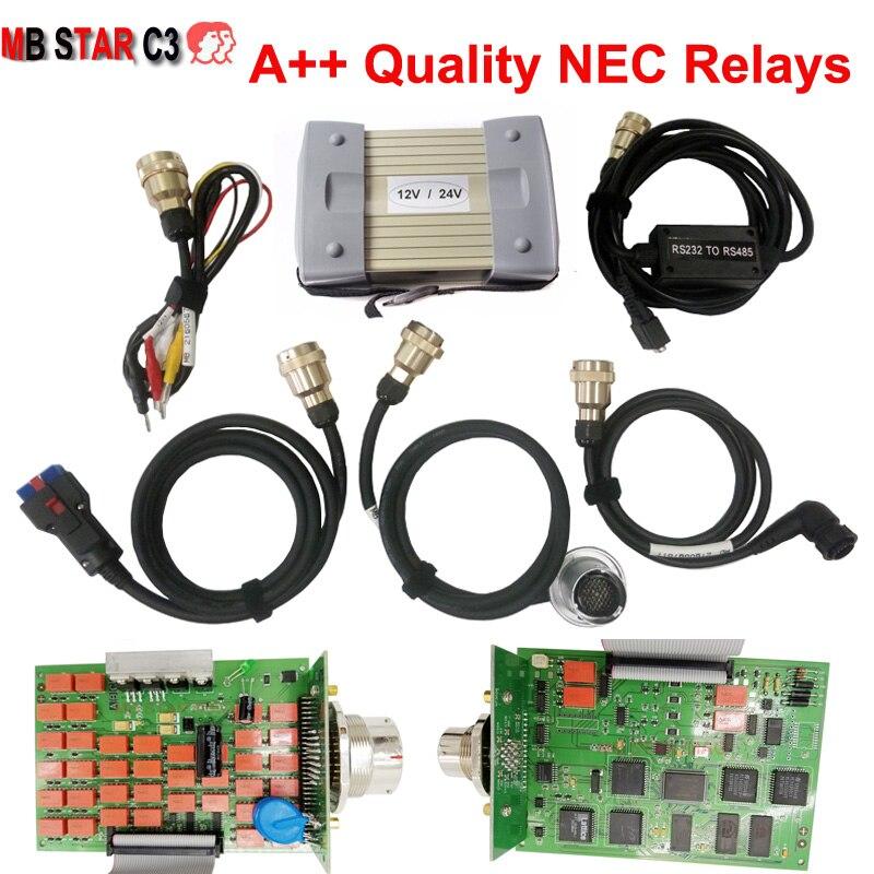 Melhor qualidade mb estrela c3 pro ferramenta de diagnóstico nec relés mb estrela c3 multiplexer com software hdd v2020.06 conjunto completo para o carro/caminhão