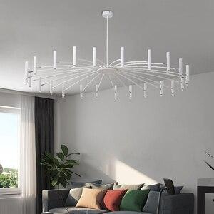 Image 3 - Lustre de decoração moderna, lustre de luminária preto com design criativo para sala de estar e sala de jantar