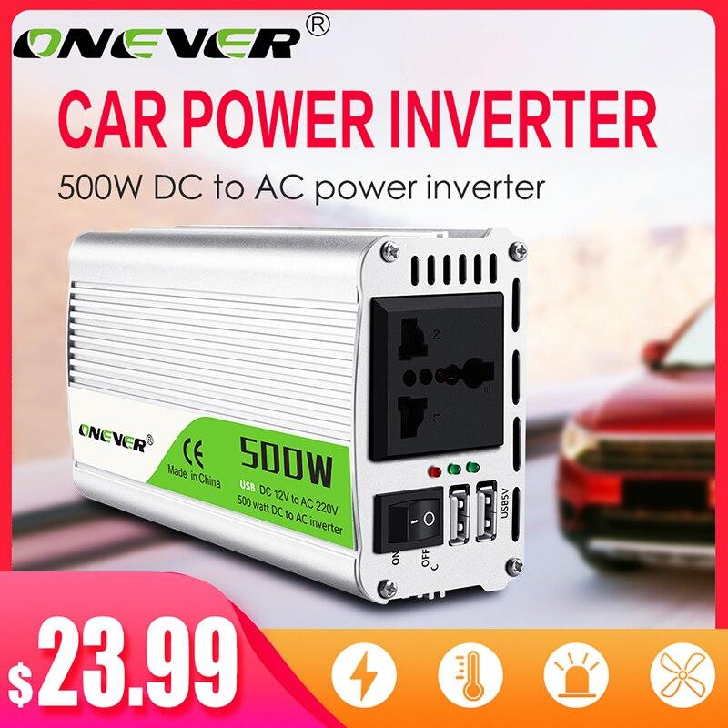 Transformador de voltaje de 12 V 500 V inversor de 220 W CC a CA 12 V a 220 V convertidor de potencia con adaptador de cargador de coche Dual USB