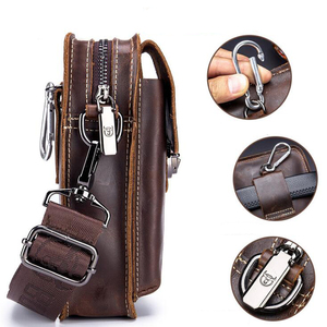 Image 4 - BULLCAPTAIN Crazy horse leather Male Waist Packs Phone Pouch Bags Waist Bag Mens Small chest Shoulder Belt Bag small back pack