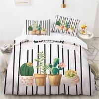 Kit biancheria da letto con stampa cactus 3D copriletto nordico 2/3 set copripiumino adatto per bambini lenzuolo matrimoniale completo di grandi dimensioni