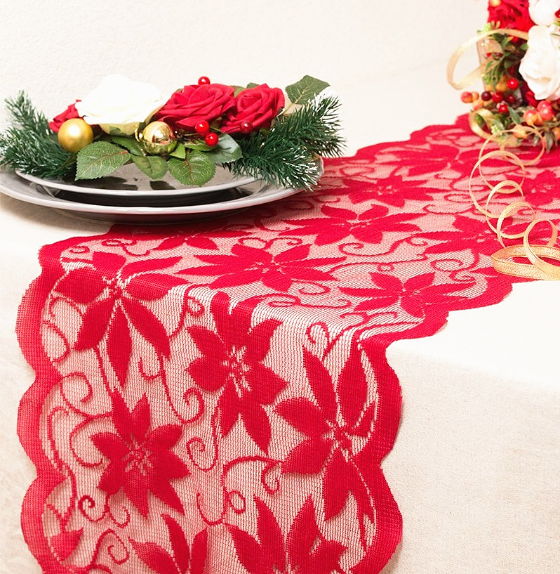1pcs Christmas Decoration Red Lace Table Runner Flower Lace Table Cover For Home Kitchen Tablecloth Wedding Party Supply