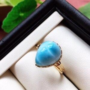 Image 5 - Anel ajustável de cristal do ouro 18k da forma 19x16x13mm aaaaa certificado natural anel de larimar azul para a festa de aniversário da mulher