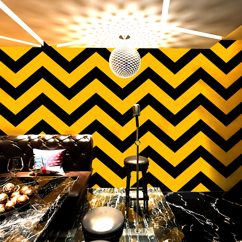 Noridc Gelombang Strip 3D Kertas Dinding Kuning Hitam Vinyl Wallpaper Roll untuk Ruang Tamu Latar Belakang
