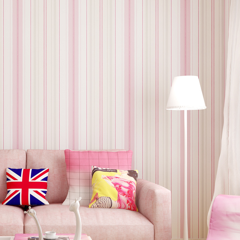Mould Proof Moisture-Proof Breathable Pink Blue Stripes Non-woven Wallpaper Bedroom Background Of Television In The Drawing Room
