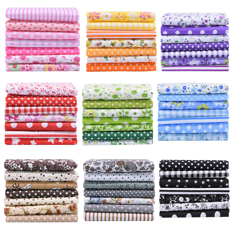 7pcs 25*25cm DIY Assorted Pattern Floral Printed Patchwork Cotton Fabric Cloth For Handmade Crafts Bundle DIY Sewing Accessories