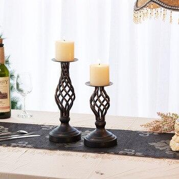 Candelero hueco de hierro Vintage, candelero sencillo de Metal romántico, candelabro para...
